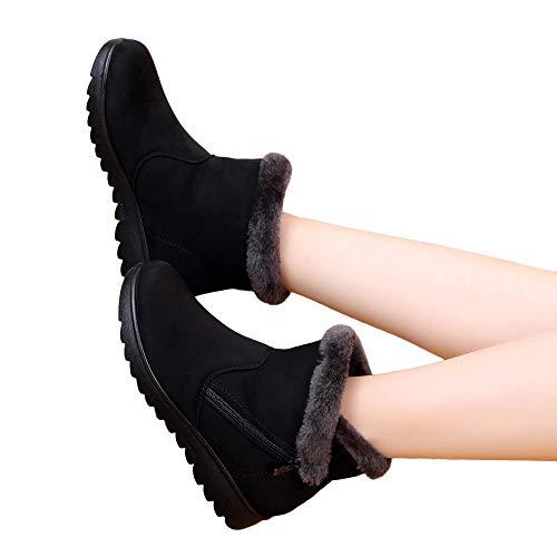BHYDRY Schuhe Damen Klassisch Einfach Winter KnöChelhohe Schneestiefel Warme ReißVerschluss Schuhe Warm Bequem Flache Schuhe Outdoor Schuhe PlüSchfutter(37 EU,A Schwarz)