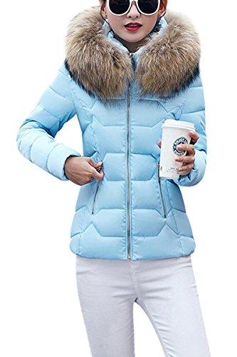 YMING Damen Übergangsjacke Stepp Jacke mit Kunstpelz Kapuze Warm Winterjacke Gefüttert Parka,Blau-B,S