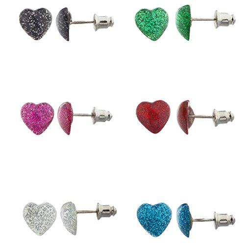LUX Zubehör Multi Color Glitter Puff Herz Multi Ohrring-Set (6Stück)