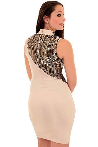 Damen Frauen Rollkragen Pailletten Bodycon Kontrast Abend Party Kleid Beige