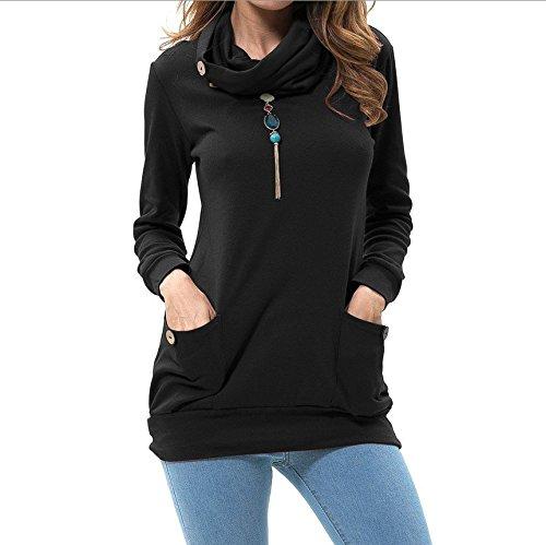 Junshan Femme Manches Longues Col Rond Simple Sweatshirt Décontractée Hooded Chemisiers Tops Blouse Shirts Tunique Longue Noir