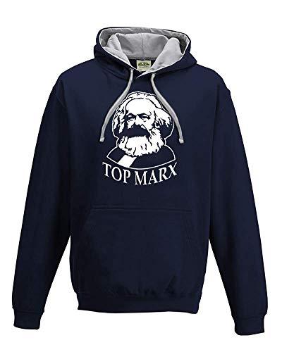 Ice-Tees Herren Top Marx - Karl Marx Iconic Silhouette Hoody Gr. 58 DE/60 DE X-Large, Navy -