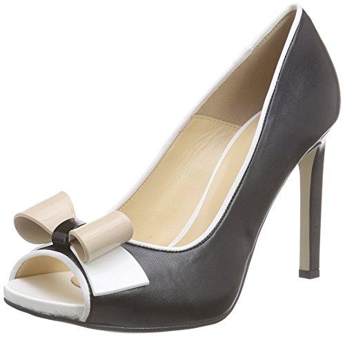 Pollini sa16219c11tm, scarpe con tacco a punta aperta donna, nero (nero/bianco/nude), 38 eu