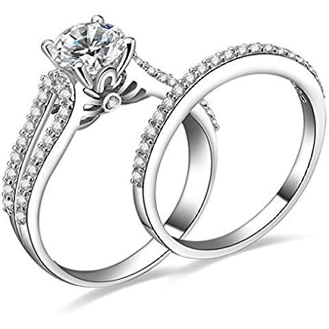 (Personalizzati Anelli)Adisaer Anelli Donna Argento 925 Anello Fidanzamento Incisione Gratuita Set di Anelli Anello Diamante - 14k Dell'anello Indiano