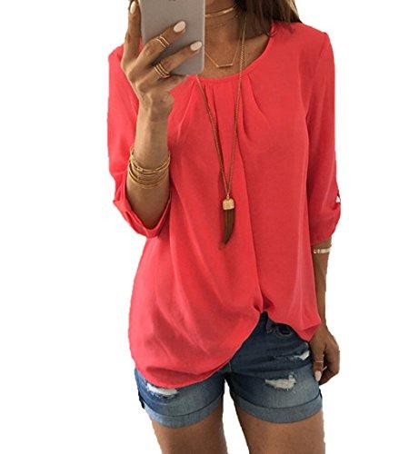 Damen Chiffon Oberteil Hemd Bluse