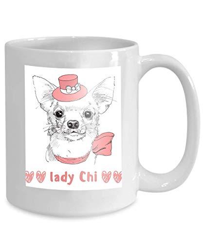 Becher Kaffee Tee Tasse weiße Chihuahua rosa Hut Hand gezeichnete Porträt Gekritzel 110z