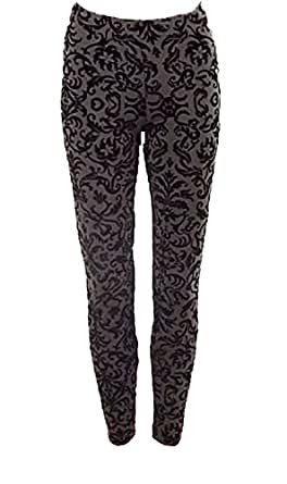 1667c1c303baa7 Image Unavailable. Image not available for. Colour: Textured Baroque / Floral  Velvet Tapestry Flock Leggings / Treggings ...