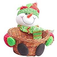 FLOWER205 Cesta de bambú de Navidad, Cesta de Dulces de Santa, Caja de Almacenamiento de Escritorio, Cesta de Regalo, decoración de Navidad, Caja de Frutas