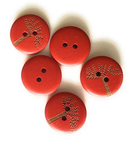 15 Boutons en Bois Multicolores 20mm décorés avec Un Arbre de Vie (Rouge)