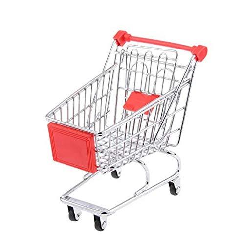 xel_uu.11 Supermarkt-Einkaufswagen für Kinder in Mini-Format, Simulations-Mini-Trolley für Kinderspielhaus 1 rot