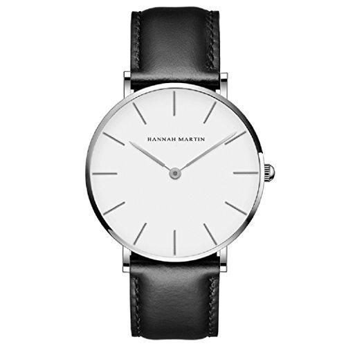 Herren Uhren,L'ananas Minimalistischer Stil Wasserdicht Anolog Geschäft Quarz PU-Leder Paare Liebhaber Armbanduhren mit Geschenkbox Wristwatches (Schwarz+Silber)