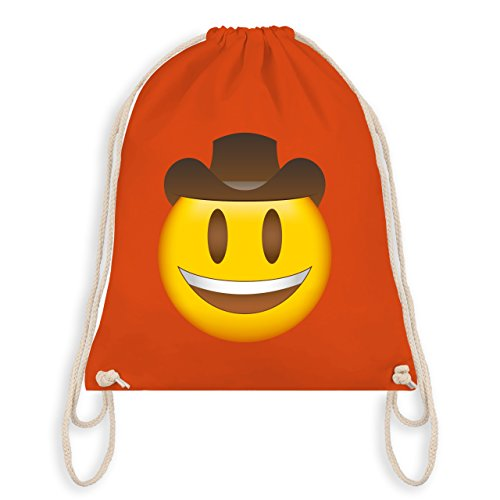 Gym Hut (Comic Shirts - Emoji Cowboy-Hut - Unisize - Orange - WM110 - Turnbeutel I Gym Bag)