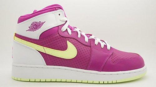 [332148-509] AIR Jordan AJ 1 Retro HIGH (GS) GS Sneakers Fuchsia Flash LQD Lime White 9.5 M US Big Kids -