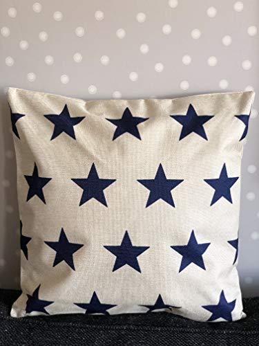 J.T.Hatched - Funda de cojín, diseño de Estrellas, Color Crema y Azul Marino