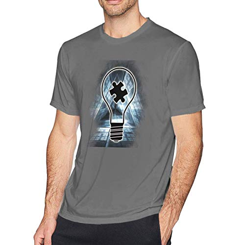 Glühbirne Autismus Bewusstsein Männer Rundhalsausschnitt Kurzarm T-Shirt, Freizeithemd für Männer,5XL (Zitrone Glühbirne)
