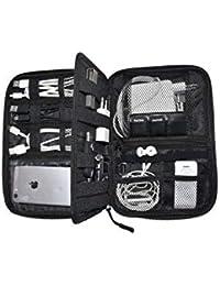 Nomalite Organizador de electrónica Funda Negra/Bolso portátil Viaje para Almacenamiento de Cables y Accesorios con 5 Bolsillos, 20 Bandas elásticas, 1 Panel Central y 3 Ranuras para SIM/USB