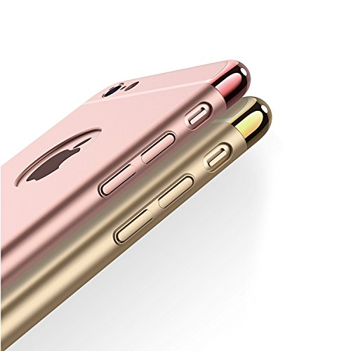 IPhone 6/6S 7 7 Plus hülle,[3 in 1 Serie] nicht Beleg-Oberfläche Stoß-Galvanisiergeräte Texture-Haut-Schutz [hart] für Apple iPhone 6/6S 7 7 Plus (iPhone 6/6S, Black) Rose Gold
