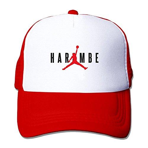 Feruch Harambe X Jordan mesh hats Black Red Jordan Stretch-cap