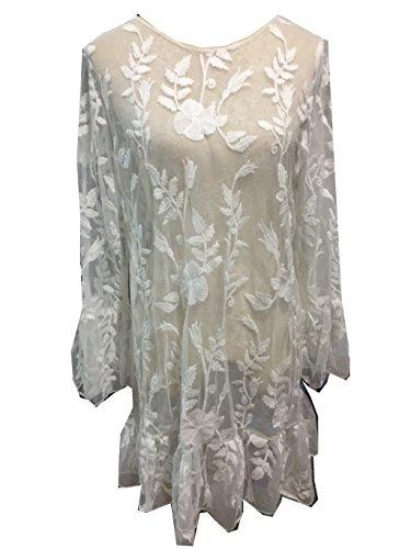 ASSKDAN Femme Sexy Cache-maillot Sarong Detelle avec Volant Manche Longue Lâche Mini Robe de Plage Blanc