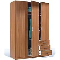 Armario ropero para dormitorio o habitación en color cerezo castaño gran capacidad de almacenaje 3 puertas y 3 cajones 180x121x52 cm