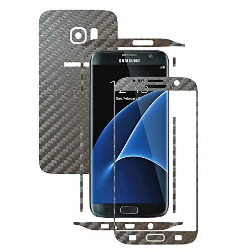 X-Skinz, Full Body Silber-Grau Carbon Skin Schutzfolie für Samsung Galaxy S7 Edge - Split Cut, Displayrahmen + Rückseite Case Cover Hülle Sticker, Vinyl Wrap Aufkleber Panzerfolie