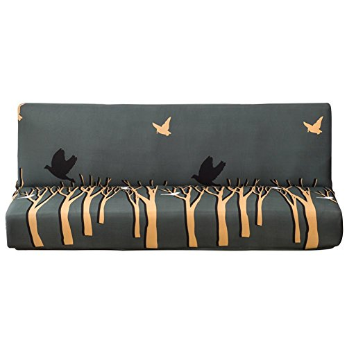 Demiawaking Trunk and Bird Armless Sofa Cover Polyester Stretch Sofa Bed Cover Slipcover Protector Fit Folding Sofa Bed without Armrests (Large)