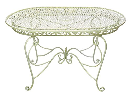 Gartentisch 135cm Eisen Tisch Gartenmöbel creme weiss Antik-Stil table garden