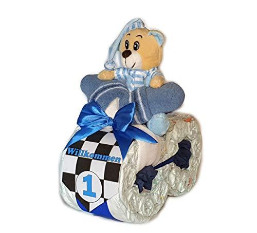 Tarta de pañales - Pañal Moto Rallye Azul # 1 - Regalo para nacimiento