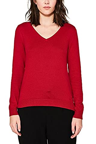 edc by ESPRIT Damen Pullover 077CC1I006, Rot (Dark Red 610), XX-Large