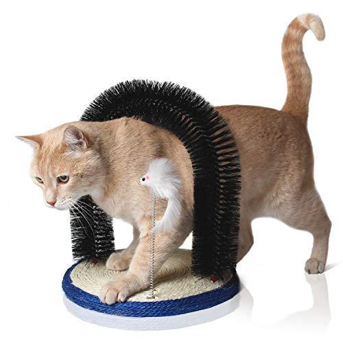 Bella & Balu Katzenbogen inkl.Katzenspielzeug - Massagebogen für Katzen mit Kratzbürste und integriertem Kratzbrett aus Sisal zur Massage, Fellpflege und zum Spielen