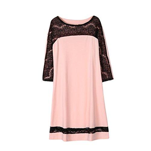 Flirt Neckholder (Damen Kleid,DOLDOA O-Ausschnitt Spitze Spleißen Lose 3/4 arm Knielang Kleid Freizeitkleid (EU:52, Rosa,Spitze Spleißen 3/4 arm Knielang Kleid))