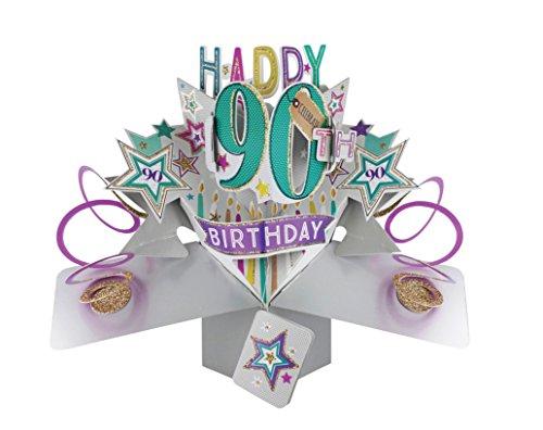 Suki Gifts POP166 Pop Up Grusskarte, 90. Geburtstag, mehrfarbig
