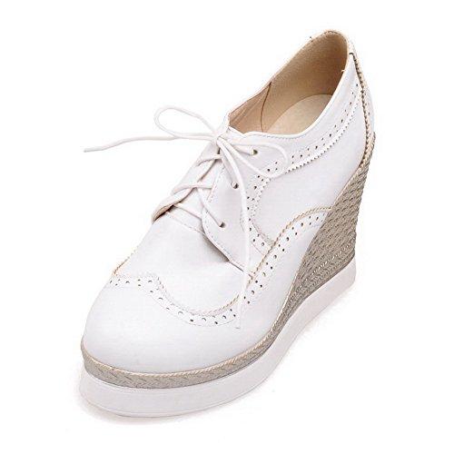 VogueZone009 Femme Pu Cuir Couleur Unie Lacet Rond à Talon Haut Chaussures Légeres Blanc