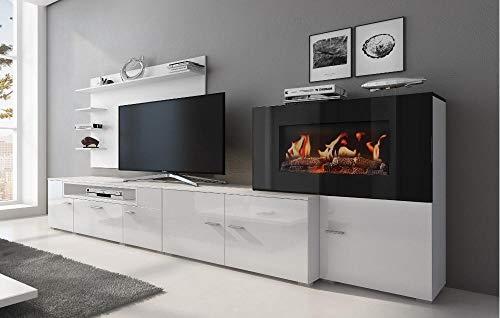Moderne Wohnwand weiß – Mit Kamin Bioethanol kaufen  Bild 1*