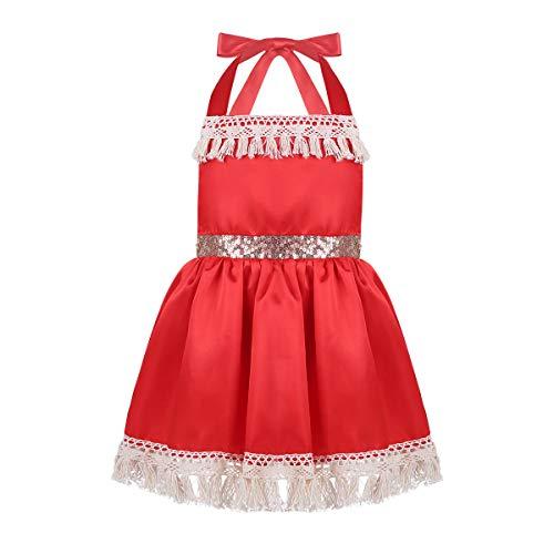 Alvivi Baby Mädchen Kostüm Prinzessin Neckholder Kleid ärmellos Partykleid Kostüm für Strandurlaub Abenteuer Geburtstag Karneval Fasching Alltags Outfits Verkleidung Rot 86-92