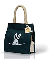 HandCraft Jute Lunch Bag | Tote Bag with Zip | Gift Bag (Small Size)25 W X 25 H X 12 G cm