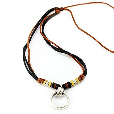 Real Spark Fashion Multilayer Cotton Cord Colorful Beads Ring Pendant Charm Tribal Necklace by Real Spark