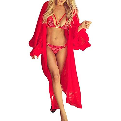 MERICAL Mode Frauen Sexy Sheer Mesh Ausgestellte Ärmel Cover Ups Sonnencreme Lange Bademantel(Rot,L)
