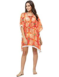 SOURBH Beach Wear Kaftan for Women Top Printed Bikini Boho Body Coverups Girls Swim Dress Western (SK430, Multicolor, Free Size)