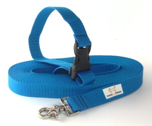 DOGS and MORE - VERLÄNGERBARE Schleppleine mit LÖSBARER Handschlaufe - Basis 10 Meter (Blau; 25 mm breit) / Suchleine / Feldleine