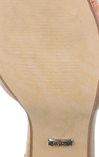 Buffalo 312339 SY SUEDE PATENT PU Damen Knöchelriemchen Sandalen - beige/koralle