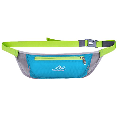 NF&E Men Women Waterproof Pouch Waist Belt Pack Bag For Sport Running Travel Hiking Blue