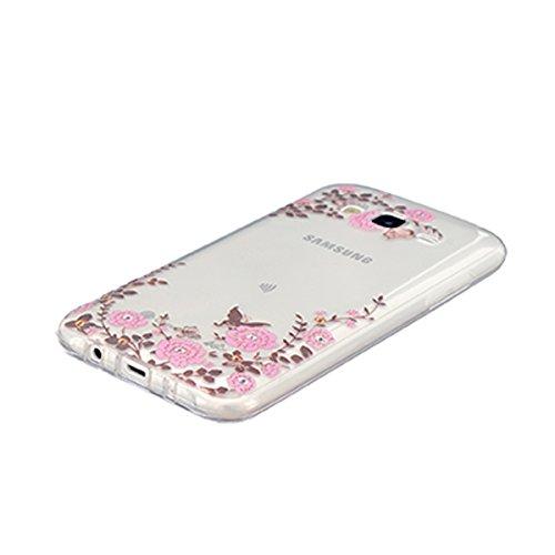 Etui Samsung J5 , Galaxy J5 Etui , Anfire Attrapeur Reves Motif Mode Etui Coque TPU Slim pour Samsung Galaxy J5 (2015) J500FN (5.0 pouces) Mode Flexible Souple Soft Case Couverture Housse Protection A Fleur et Papillon