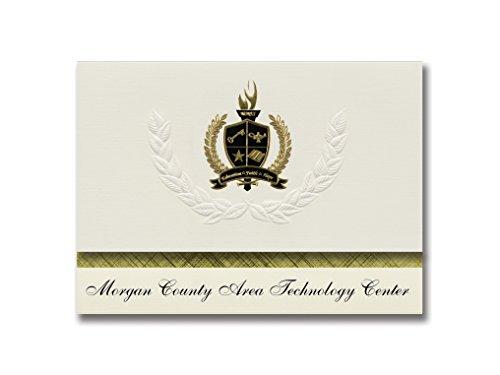 Signature Announcements Morgan County Area Technology Center (West Liberty, KY) Graduationsankündigungen, Präsidential-Pack, 25 Stück, mit goldfarbener und schwarzer Metallic-Folienversiegelung