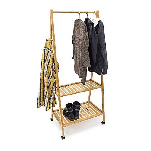 Relaxdays Kleiderständer Bambus HBT ca. 154 x 63 x 45 cm rollbarer Garderobenständer aus Bambus mit 2 Ablageflächen und 4 anstellbaren Rollen 2 Kleiderhaken und Schuhablage für Flur und Diele, natur