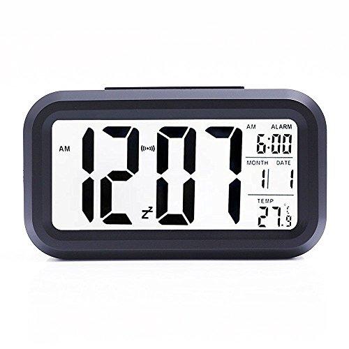 Bashley Réveil Grand Affichage à LED Réveil numérique,Roupillon,Affichage de la Date,Température lumière Intelligente