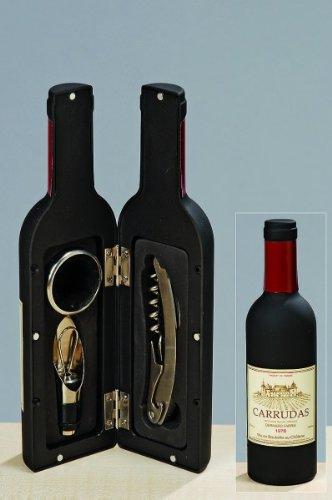 KUHEIGA Wein-Zubehör Set 4-tlg. Weinflaschen-Optik Edelstahl - Höhe: 33cm