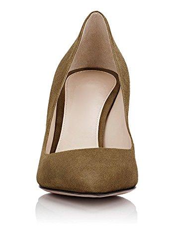 uBeauty Femmes A Enfiler Pointues Toe High Heels Escarpins Quotidiennement des Chaussures Grande Taille Marron