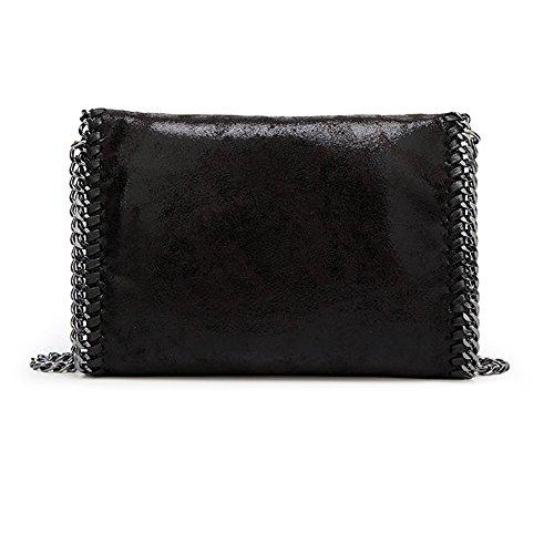 8f2f8cadbe8c7 ... Damen PU lässigen Angleliu Kette Handtasche Modisch Schultertaschen  Glitzer Beuteltasche Kleiner schwarzer Stil ...
