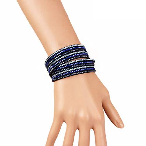 Tsinggs SAMT Armband Blau Für Frauen, Zwei Verschleiß Möglichkeiten Können Auch Als Halskette Mit Strasssteinen Verwendet Werden